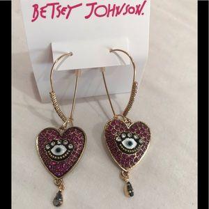 Betsey johnson evil eye heart long drop earrings.